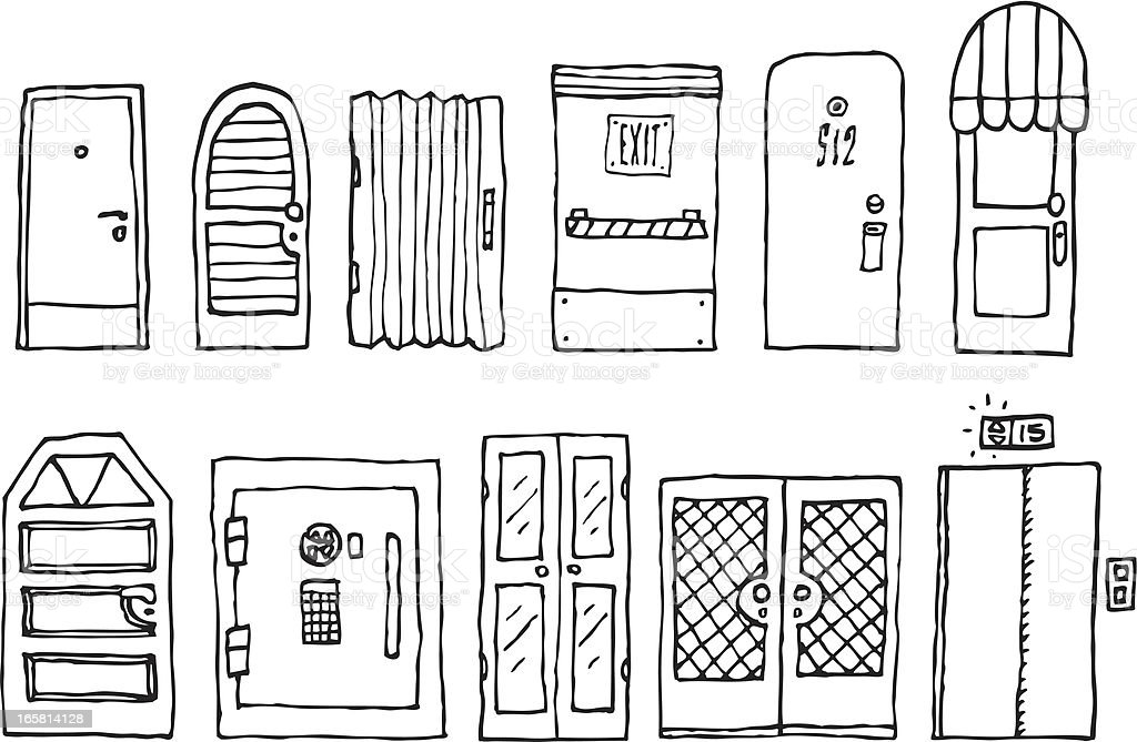 Doors and entrance set vector art illustration