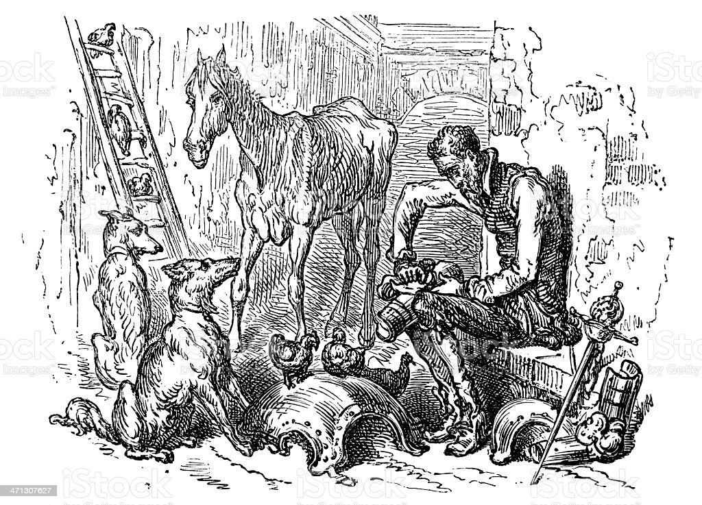 Dore's Don Quixote cleaning his armour vector art illustration