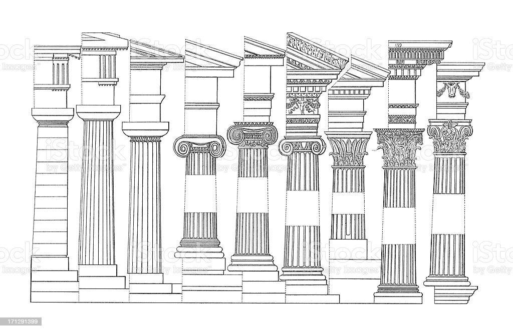 Doric, Ionic and Corinthian Columns Set | Antique Architectural Illustrations royalty-free stock vector art
