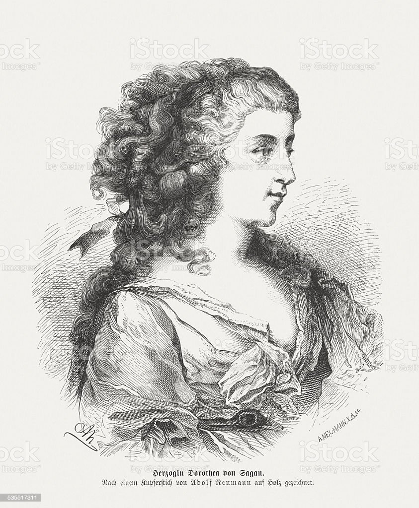 Dorothea von Sagan (1793-1862), wood engraving, published in 1871 vector art illustration
