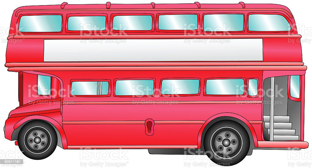 Double Decker Bus Blank Billboard (Vector) royalty-free stock vector art