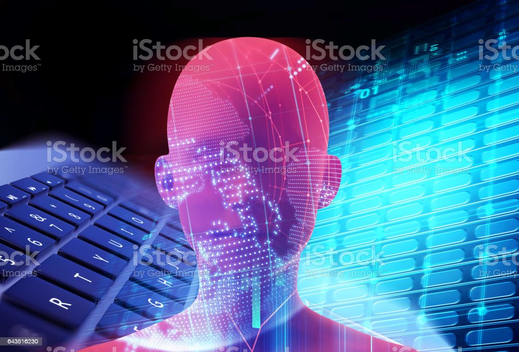 double exposure image of virtual human 3dillustration vector art illustration