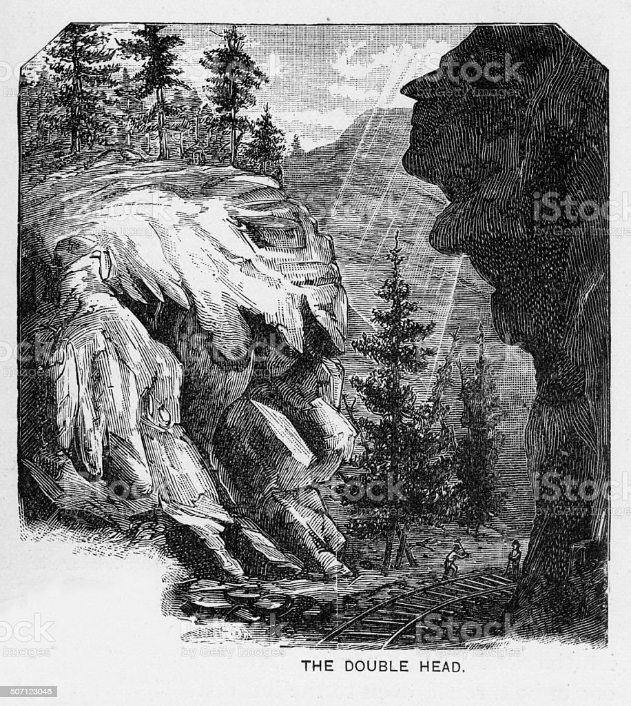 Double Head in Clear Creek Canyon Victorian Engraving stock photo