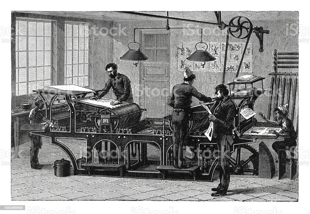 Double printing press in workshop (antique engraving) vector art illustration
