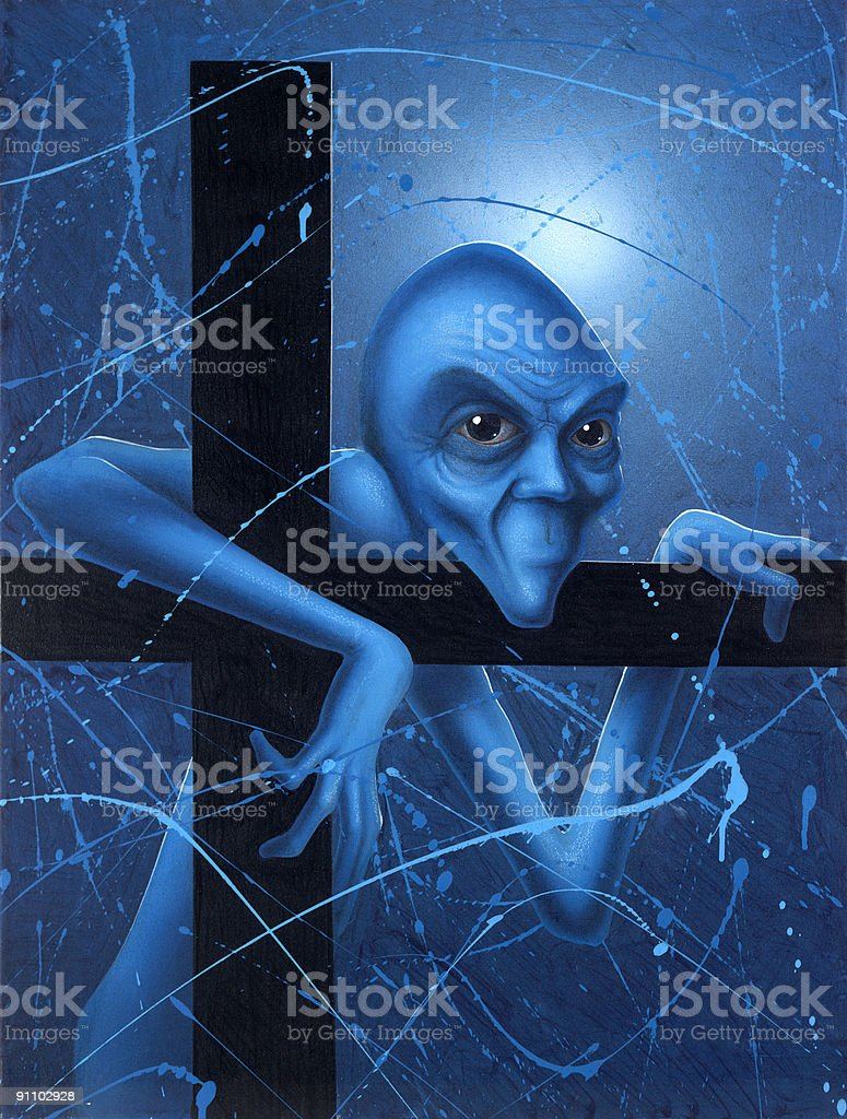 Doubt of a blue gnome vector art illustration