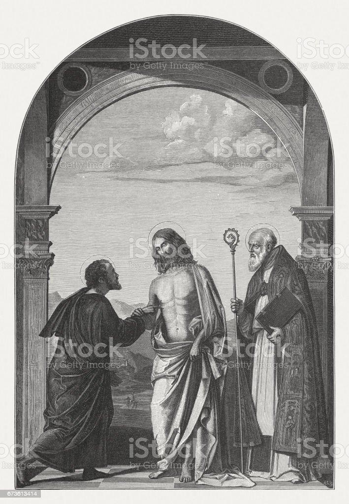 Doubting Thomas, painted (c.1505) by Cima da Conegliano, Venice, Italy vector art illustration