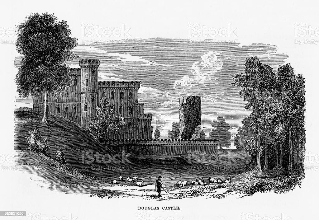Douglas Castle in Douglas, Scotland Victorian Engraving, Circa 1840 vector art illustration