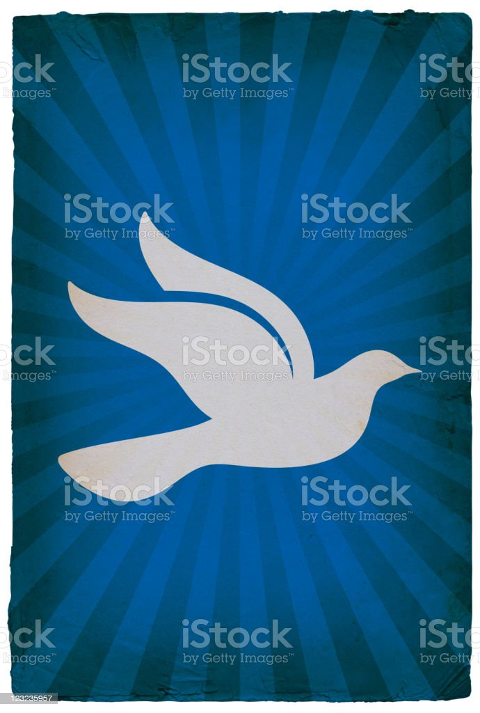 dove on old paper Background royalty-free stock vector art