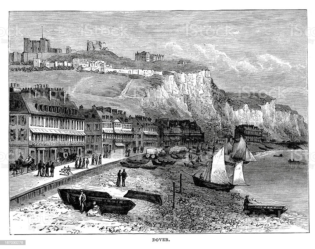 Dover in the 19th Century vector art illustration