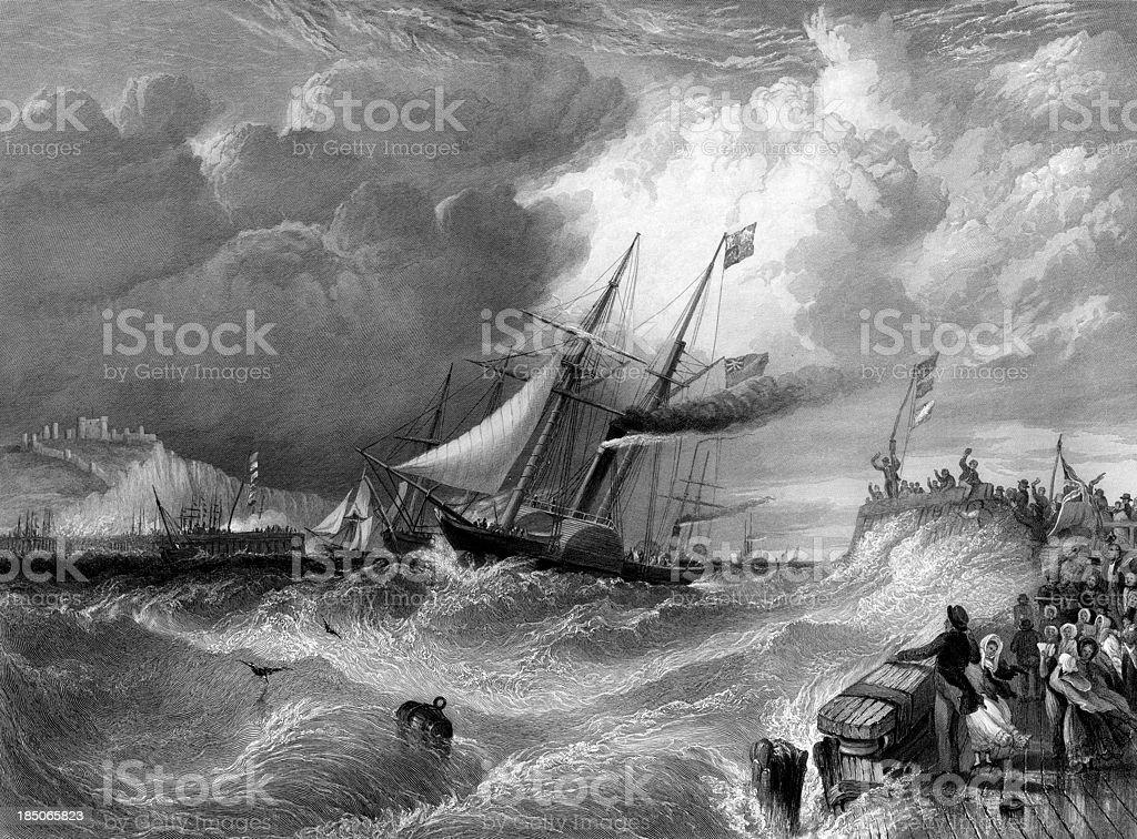 'Dover, the landing of Prince Albert (engraved illustration)' vector art illustration