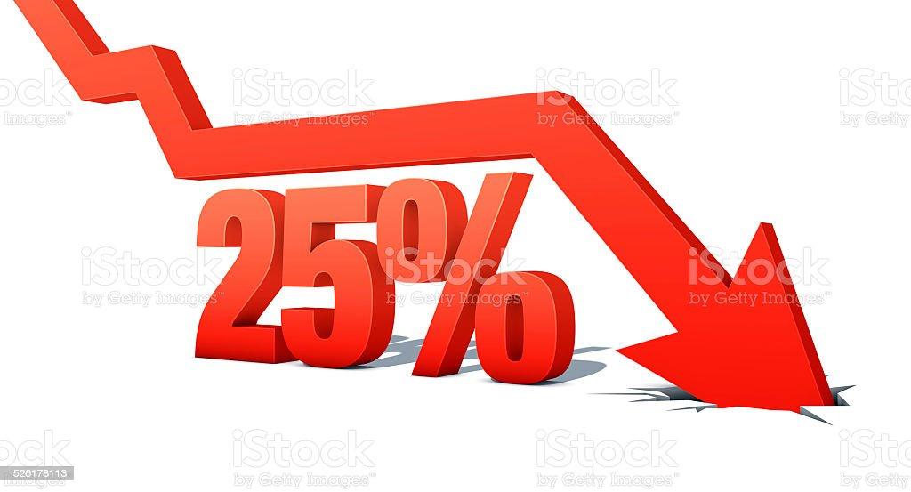 Seta para baixo com palavra: 25% vetor e ilustração royalty-free royalty-free