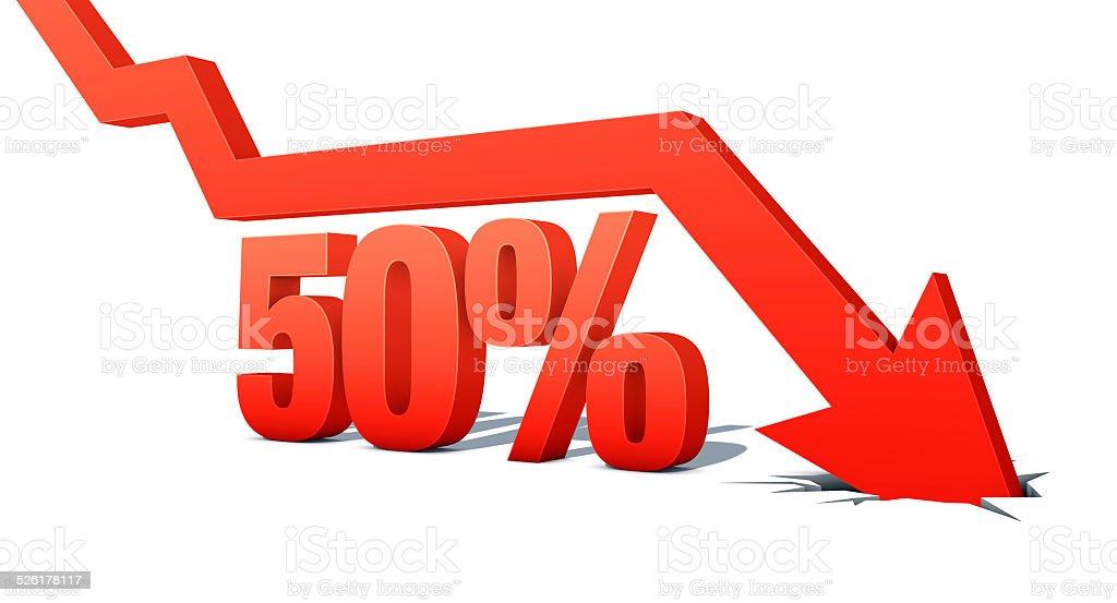 Down Arrow with word: 50% vector art illustration
