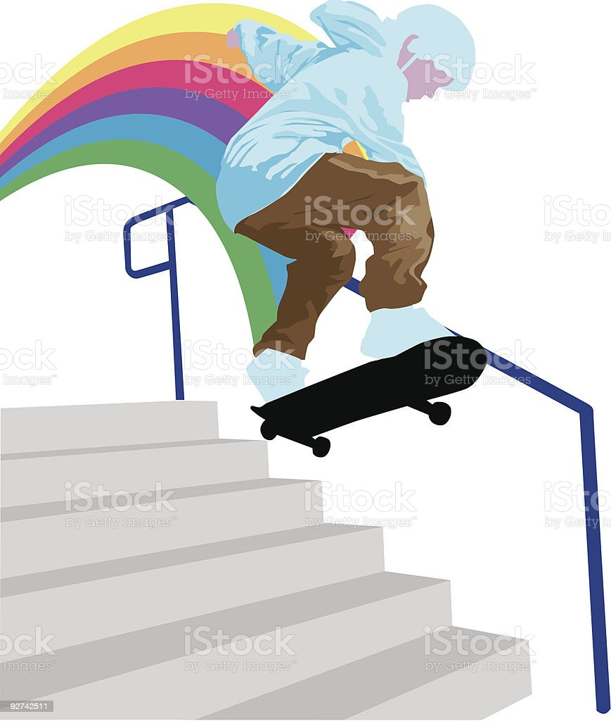 down the stairs royalty-free stock vector art