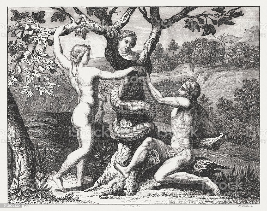 Downfall of Adam and Eve (Genesis 3), published 1841 vector art illustration