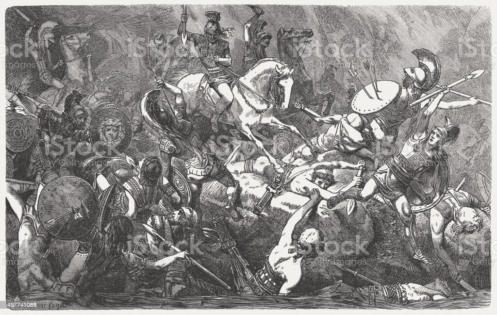 Downfall of the Athenians during the Peloponnesian War, published 1882 vector art illustration