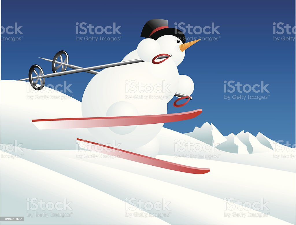 Downhill snowman royalty-free stock vector art