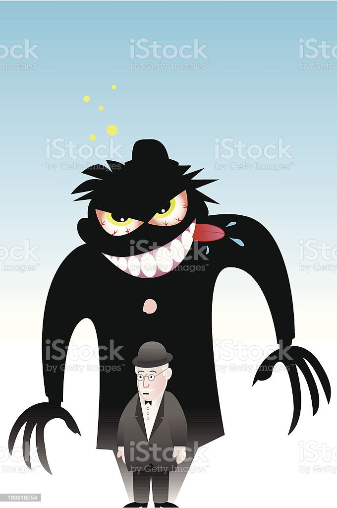 Dr Jekyll and Mr Hyde vector art illustration