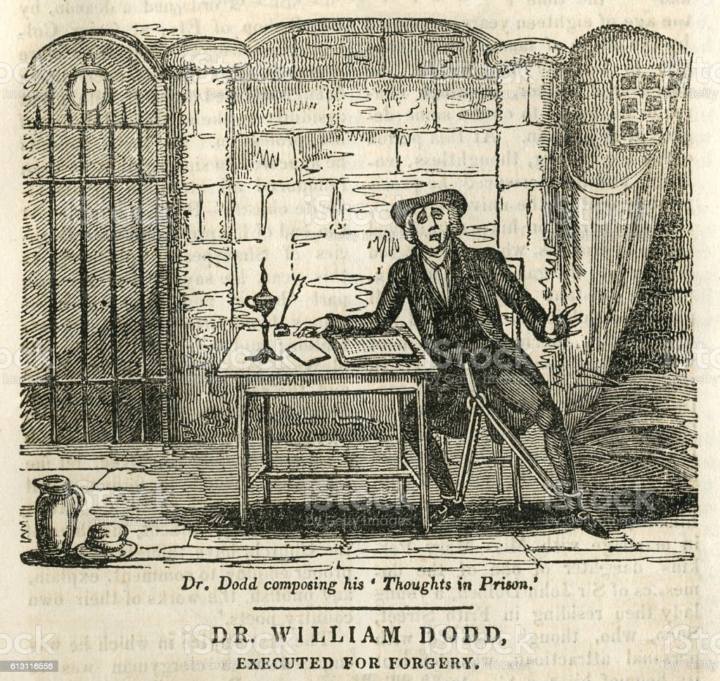 Dr William Dodd, executed for forgery vector art illustration