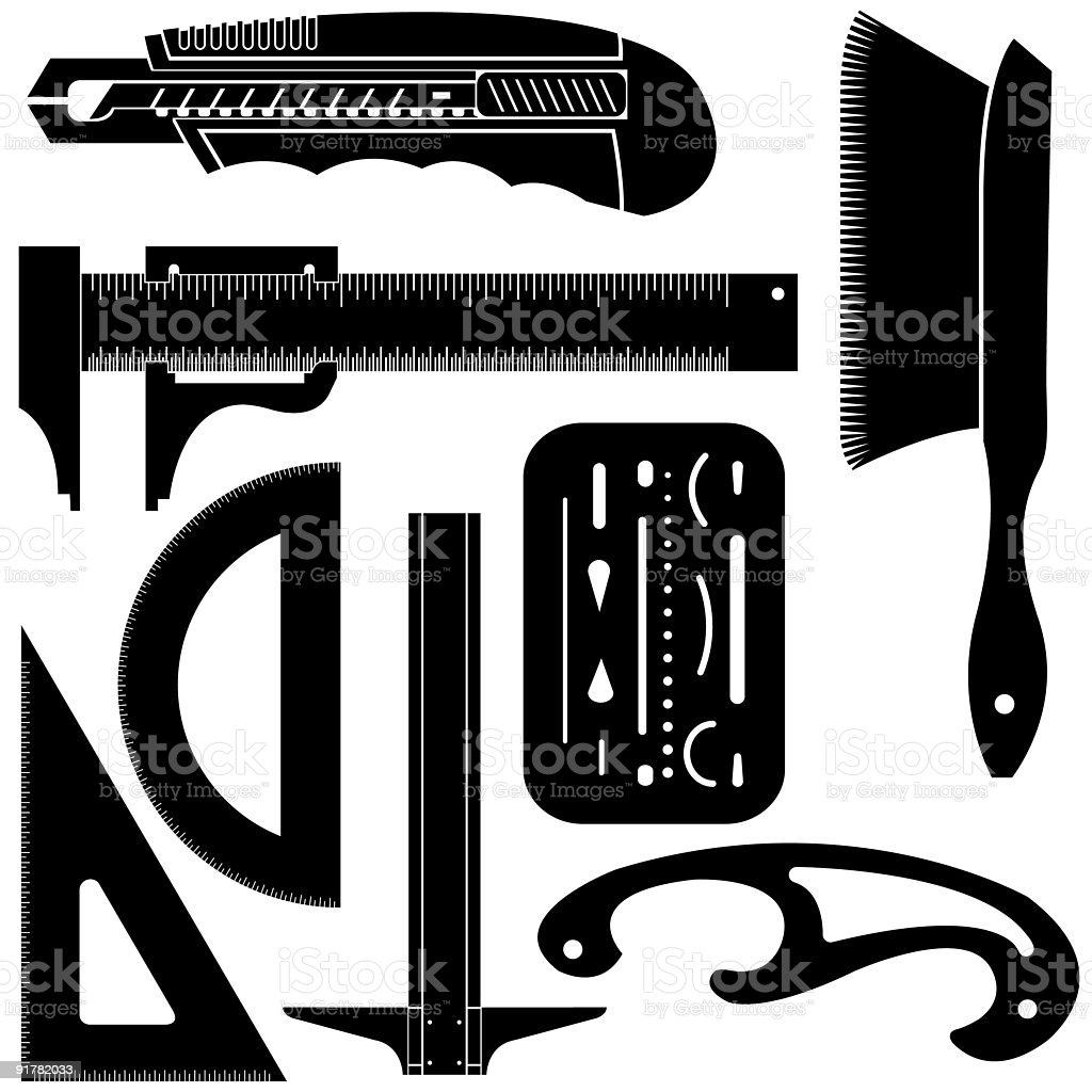 Drafting and drawing tools royalty-free stock vector art