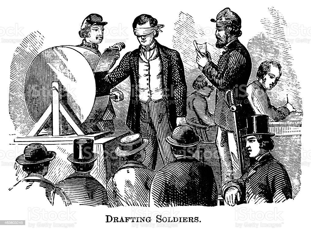 Drafting Soldiers during the American Civil War vector art illustration