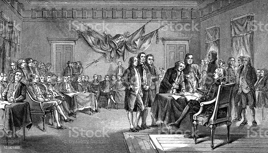 Drafting the Declaration of Independence in Antique Illustration royalty-free stock vector art