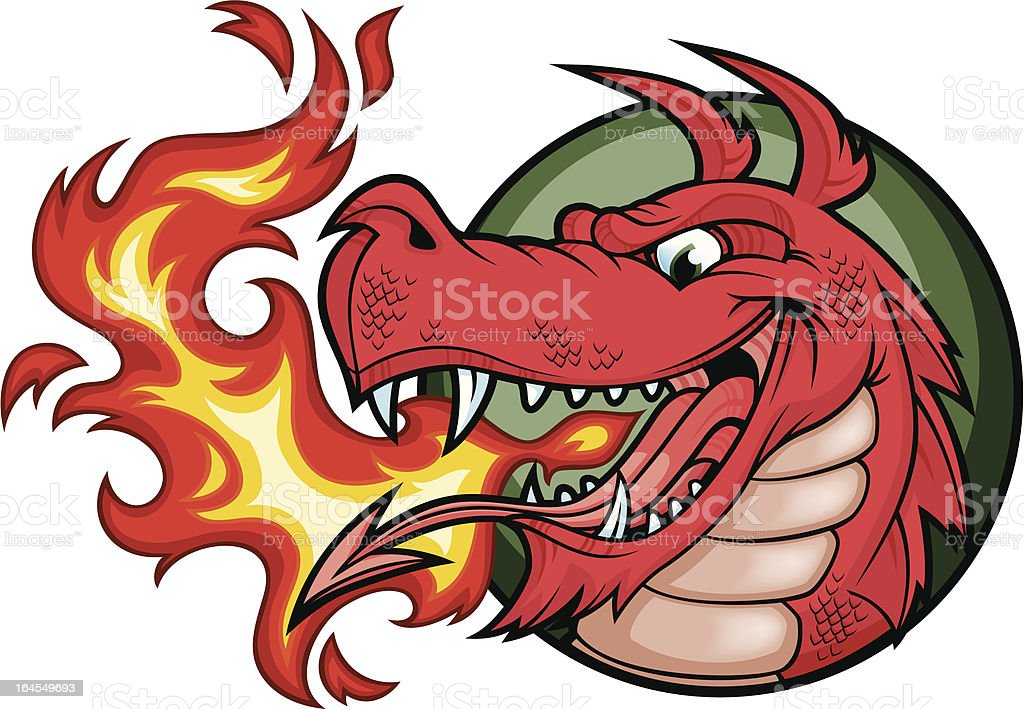 (Welsh) Dragon Fire Red vector art illustration