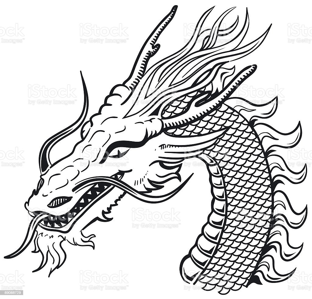 Dragon head black white stock vector art 89088729 istock - Dessin dragon japonais ...