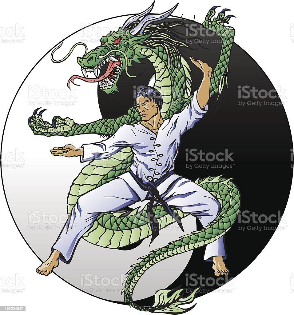 Dragon Kung Fu vector art illustration