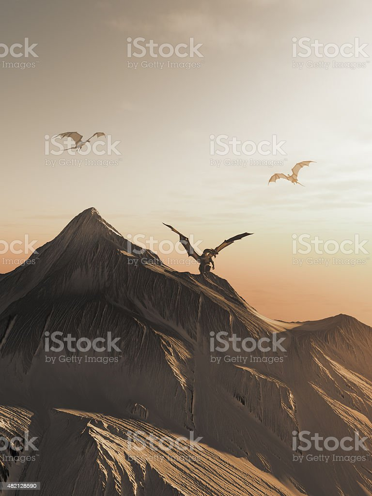 Dragon Peak at Sunset vector art illustration