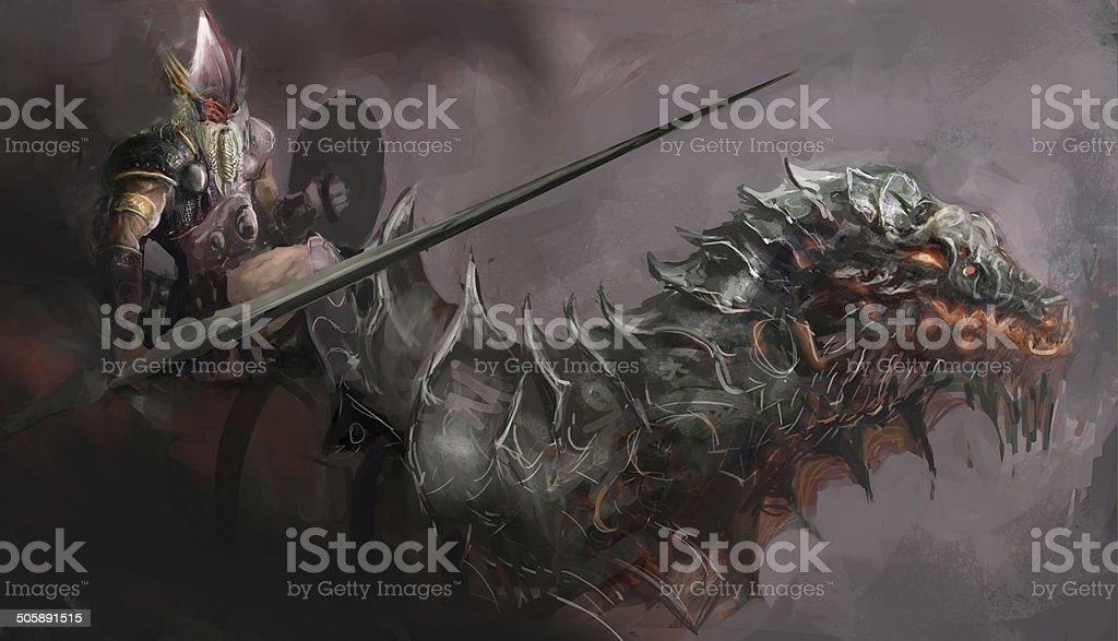dragon rider vector art illustration