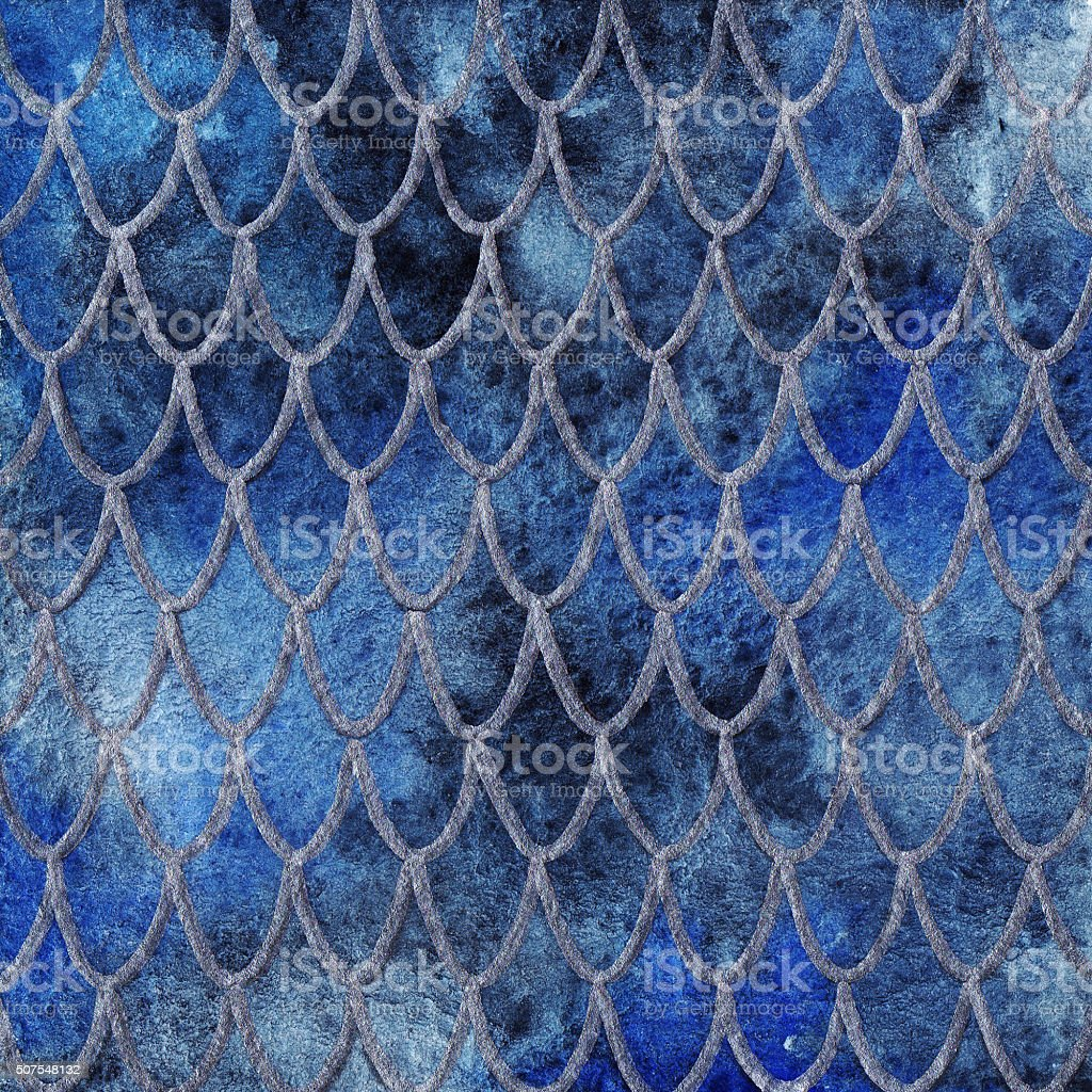 Dragon skin scales blue sapphire silver pattern texture background vector art illustration
