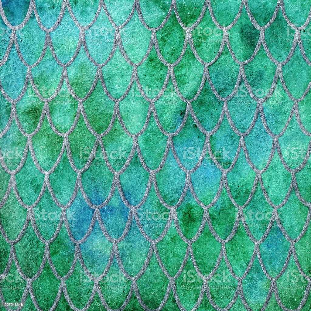 Dragon skin scales green silver emerald pattern texture background vector art illustration