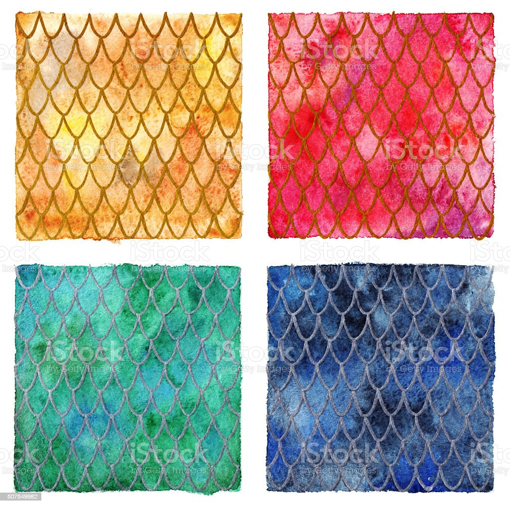 Dragon skin scales pattern texture background four colors set vector art illustration