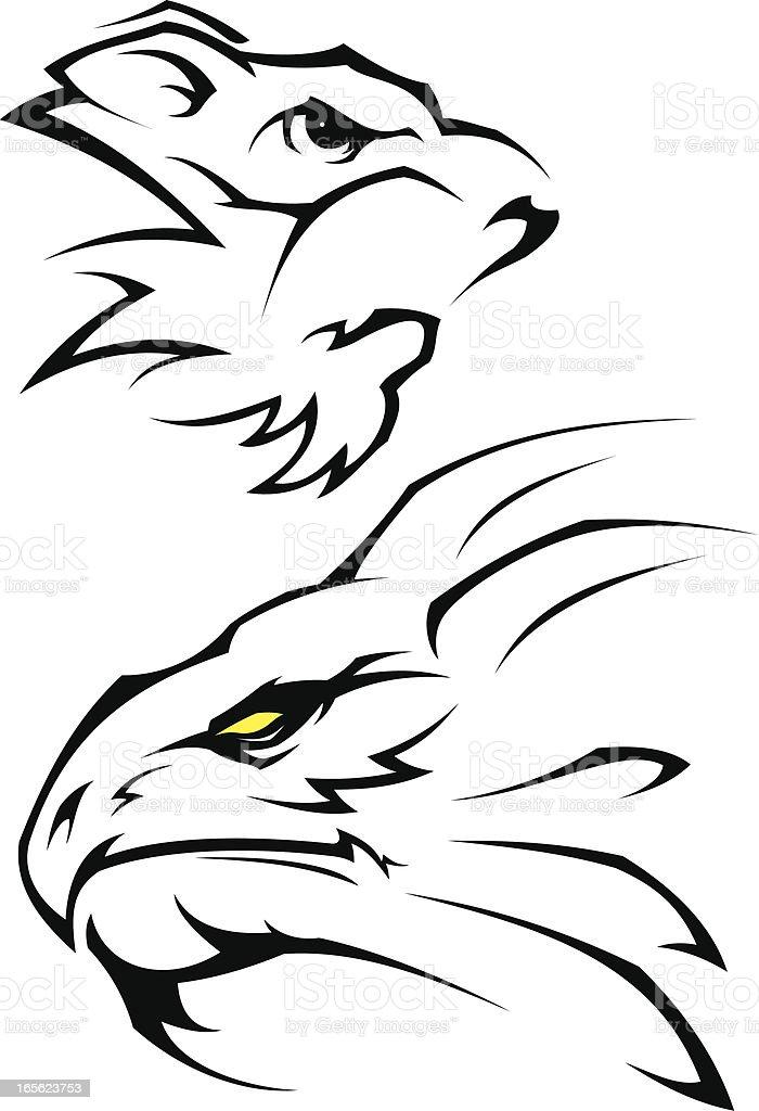 Dragon vs tiger tattoo royalty-free stock vector art