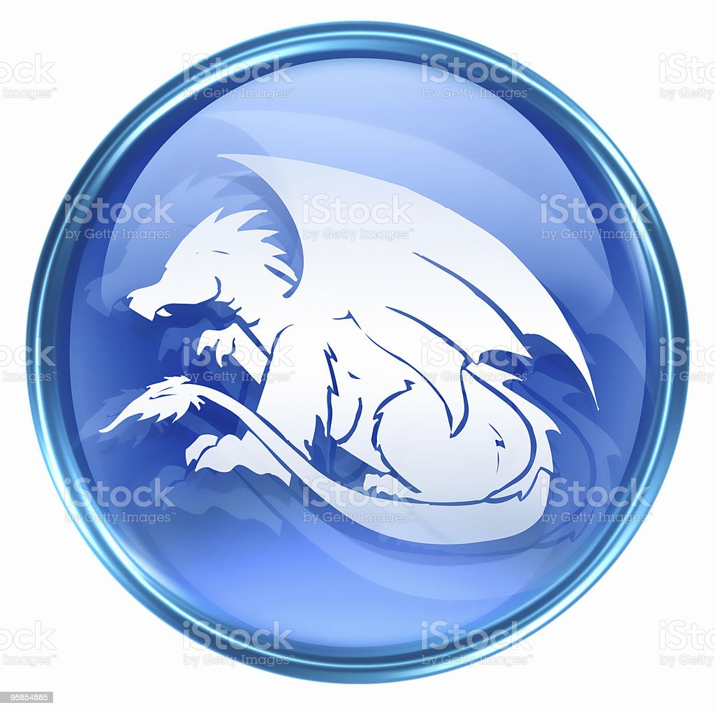 Dragon Zodiac icon blue, isolated on white background. royalty-free stock vector art