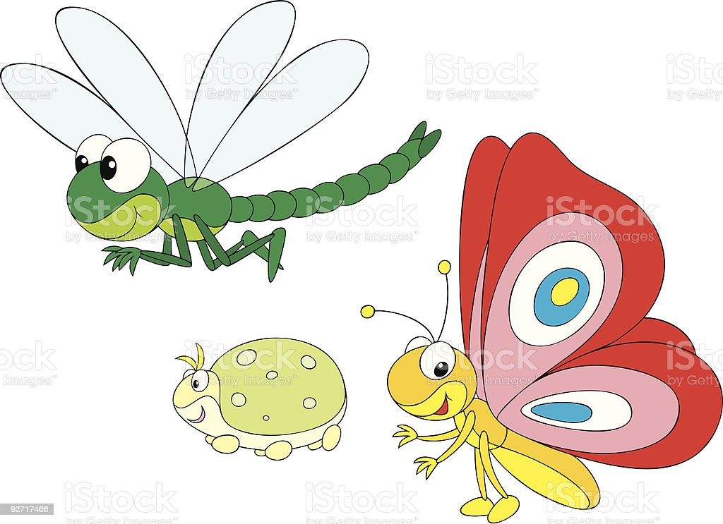 Dragonfly, greenfly and butterfly vector art illustration
