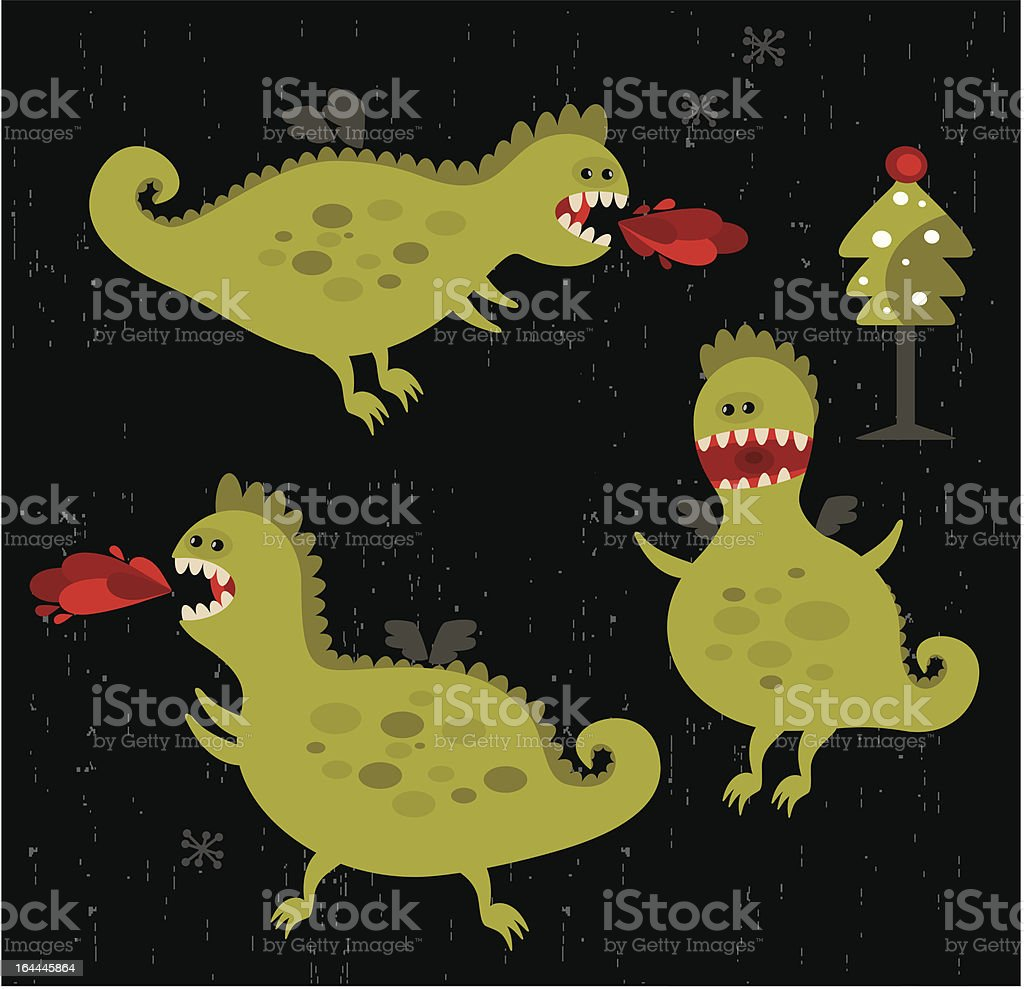 Dragons with fire and christmas tree in cartoon style.. royalty-free stock vector art