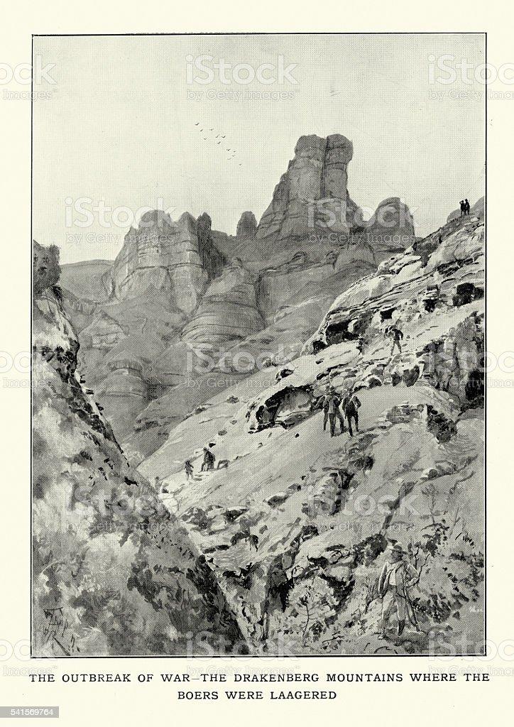 Drakensberg Mountains Outbreak of War vector art illustration