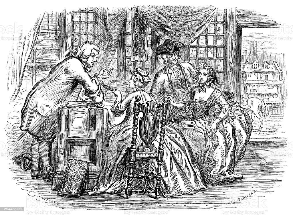 Draper's shop customers in the 18th century vector art illustration
