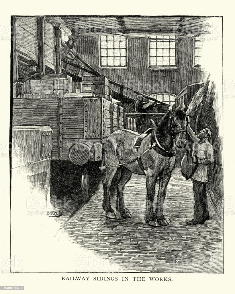 Draught horse in the railway sidings of Huntley biscuit factory vector art illustration