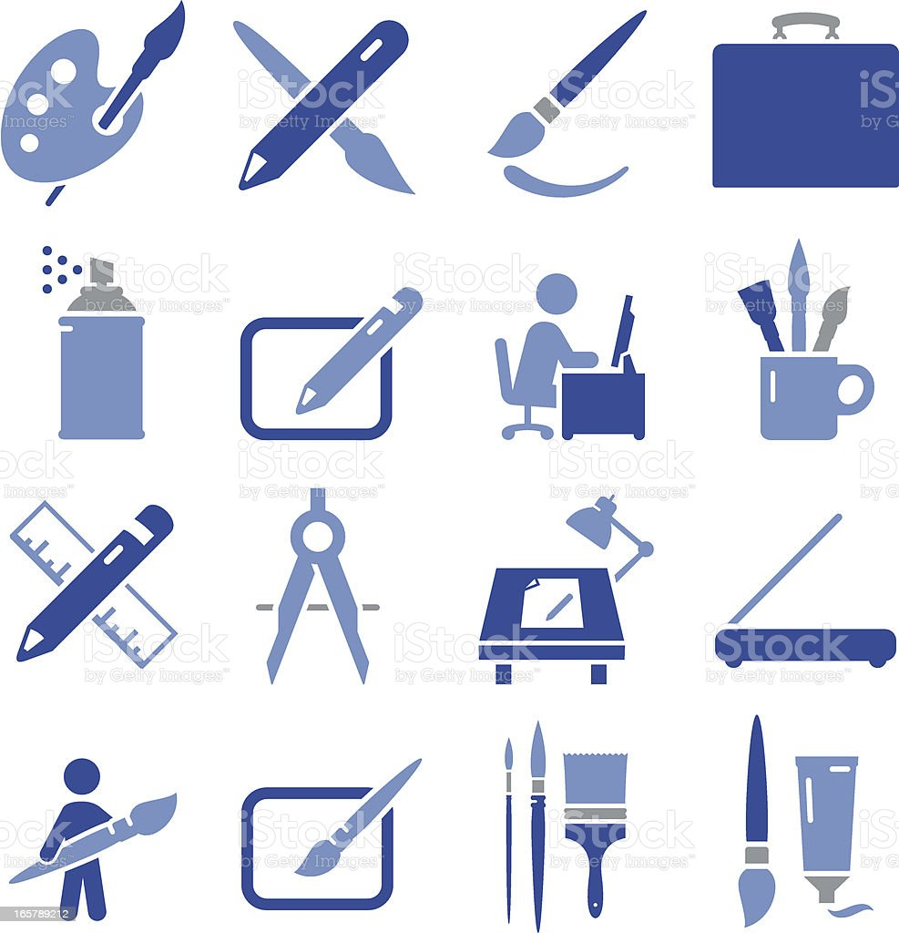 Drawing and Painting Icons - Pro Series royalty-free stock vector art