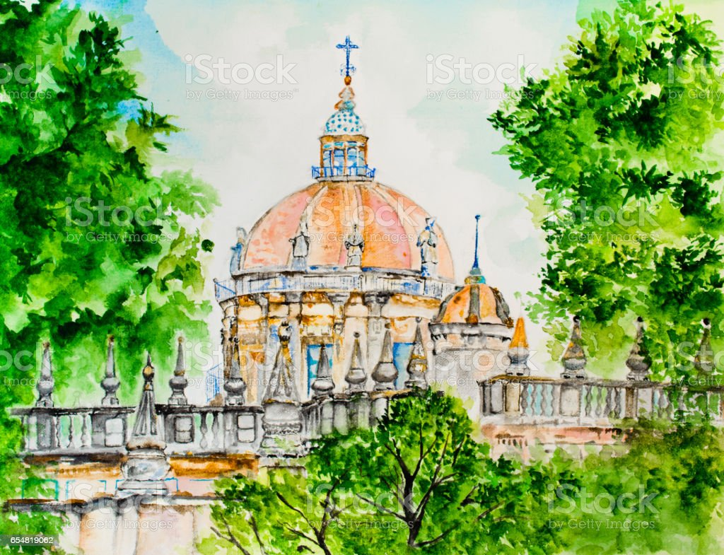Drawing 'Cathedral in Jerez de la Frontera' vector art illustration