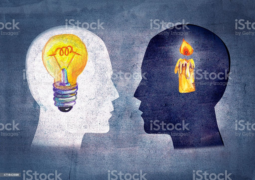 Drawing depicting psyche of different people vector art illustration