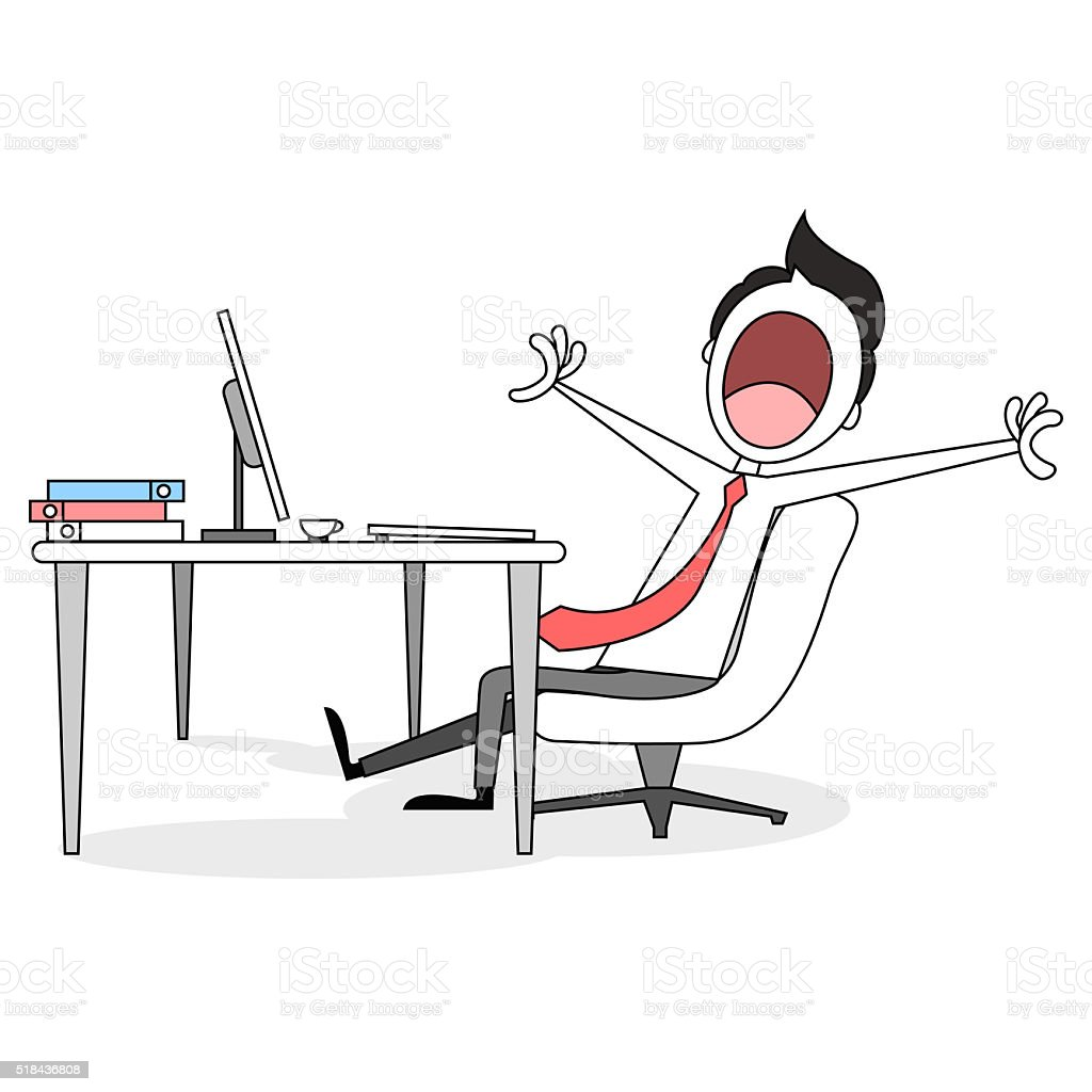Drawing of a cartoon businessman yawning at desk vector art illustration