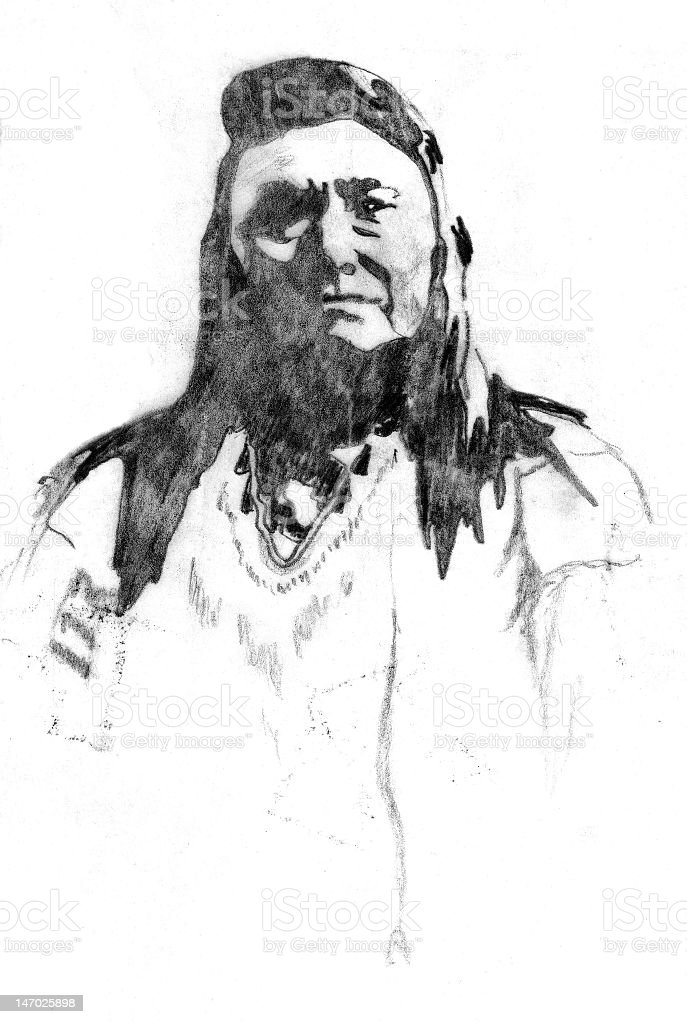Drawing of a Native American Indian vector art illustration