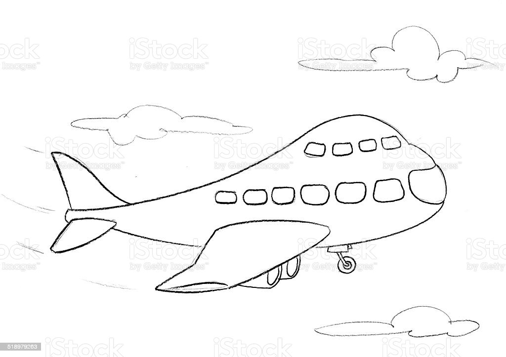 drawing of a plane royalty-free stock vector art