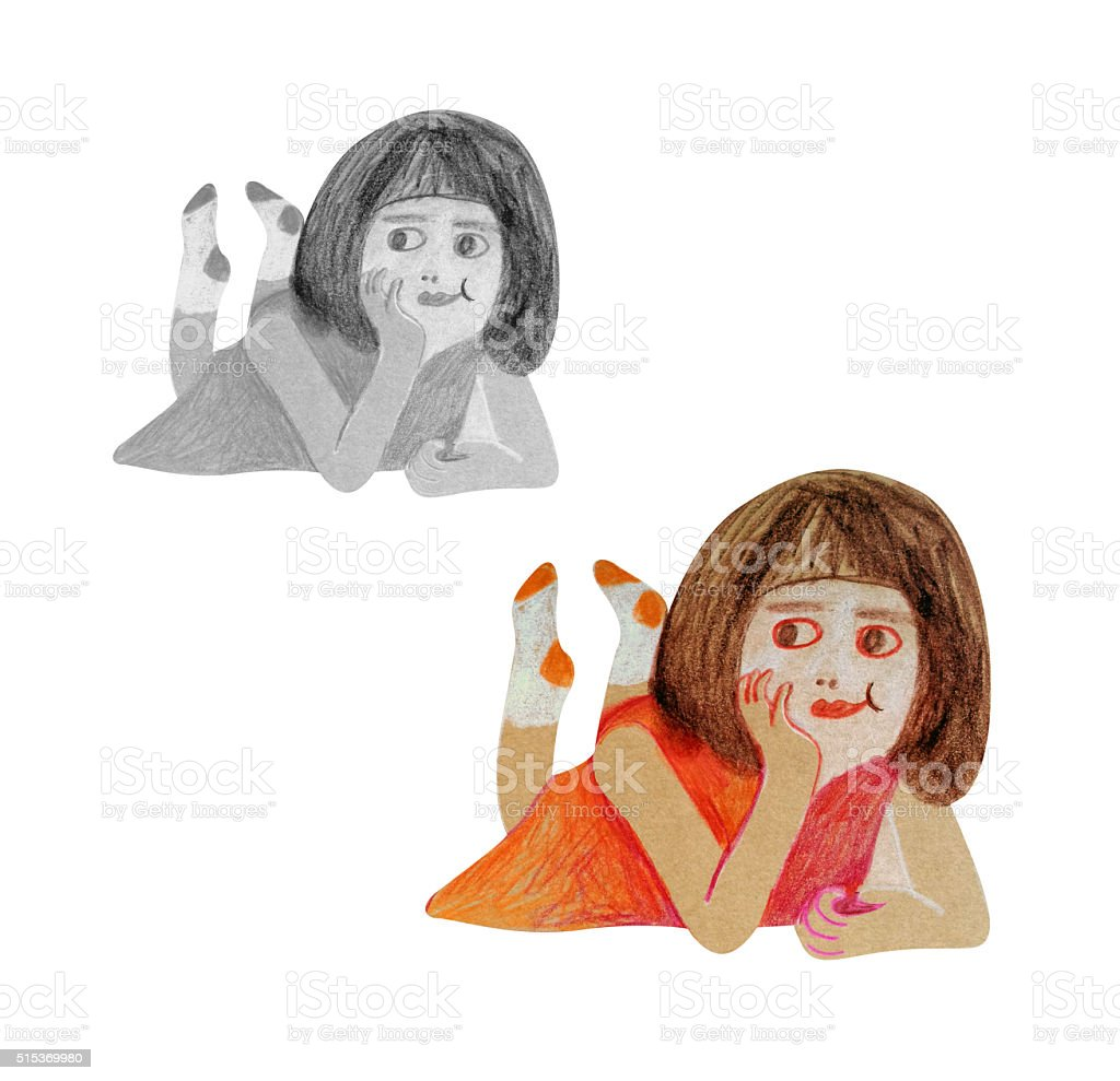 Drawing of girl lying on the floor vector art illustration