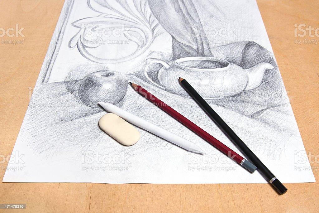 Dibujo a lápiz de grafito naturmort. illustracion libre de derechos libre de derechos