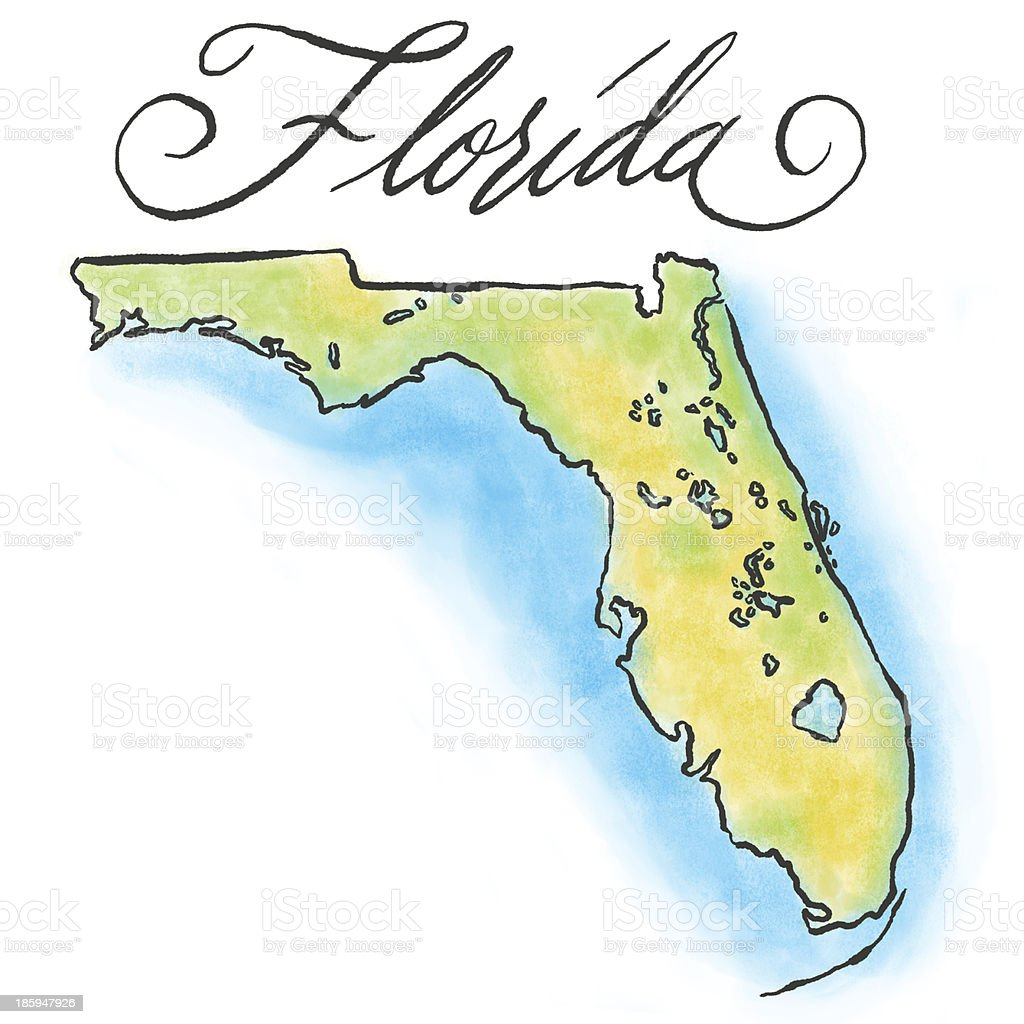 Drawing of the Florida map on white background vector art illustration