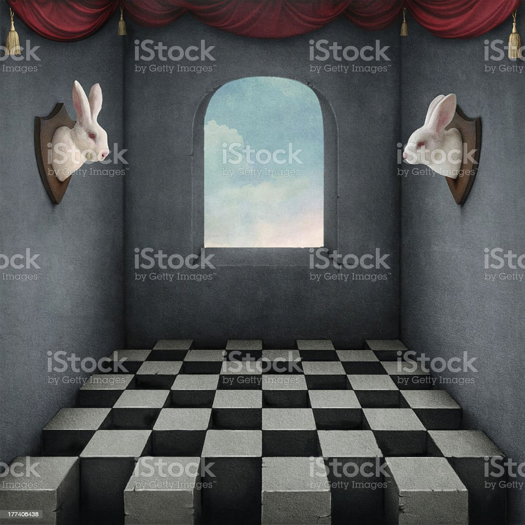 A drawing of two rabbit heads mounted on opposite walls royalty-free stock vector art